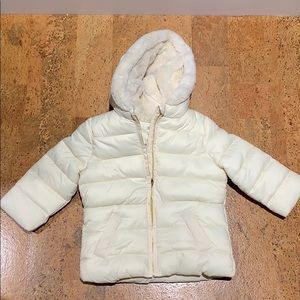 Gymboree Girls 18-24M Cream Faux Fur Hooded Jacket